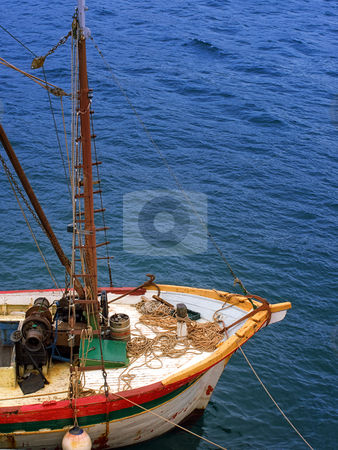Old cargo ship stock photo, Just a bow of an old cargo ship somewhere on Adriatic. by Sinisa Botas