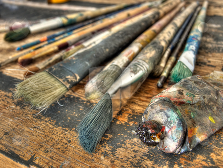 Artist accessories stock photo, Closeup of used brushes and colors in one art studio. by Sinisa Botas