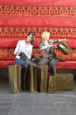 Women checking out their purchases stock photo, Two young women checking out their purchases in a trendy lounge by Corepics VOF