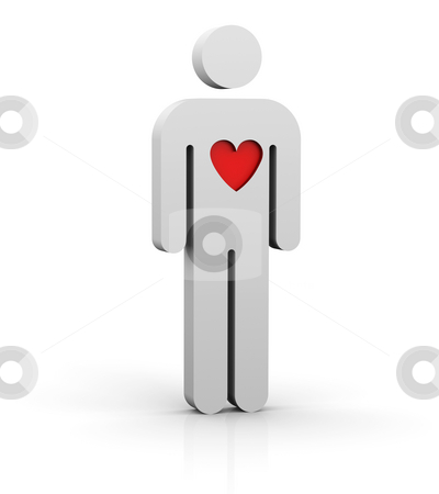 Man with a big heart stock photo, Man with a red big heart by Nuno Andre