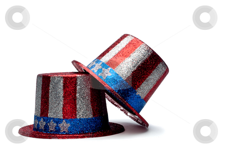 A horizontal view of a pair of sparkling 4th of July celebration stock photo, A horizontal view of a pair of sparkling 4th of July celebration hats by Vince Clements
