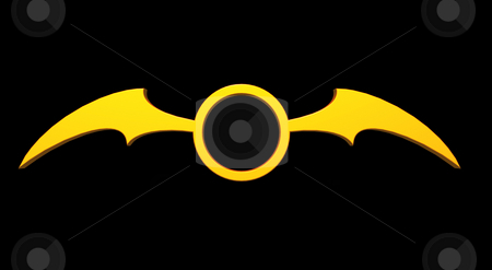 Bat wings stock photo, Ring with batwings  logo on black background - 3d illustration by J?