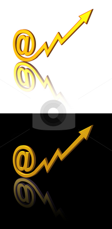 Email marketing stock photo, At symbol with arrow on black and white background - 3d illustration by J?