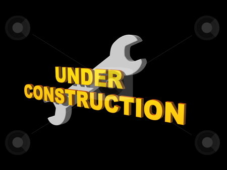 Under consruction stock photo, Under costruction text and wrench on black background - 3d illustration by J?