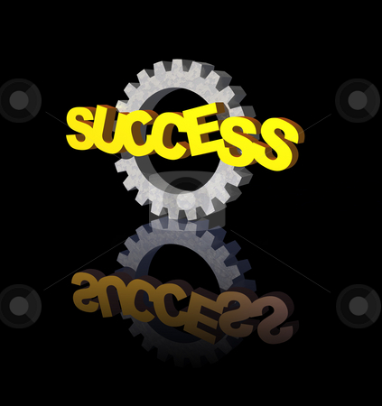 Success stock photo, Success text and gearwheel on black background - 3d illustration by J?