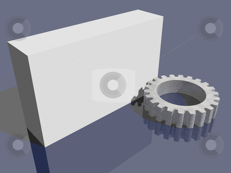 Packing stock photo, Blank packing and gearwheel - 3d illustration by J?