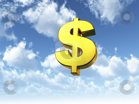 Heavenly dollar stock photo, Golden dollar symbol on cloudy sky - 3d illustration by J?