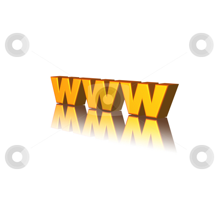 Www stock photo, Golden www letters on white background - 3d illustration by J?