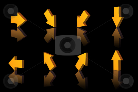 Pointer stock photo, Any arrows shows various directions - 3d illustration by J?