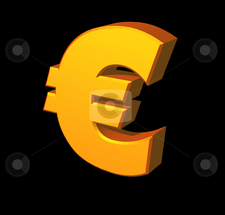 Euro stock photo, Golden euro sign on black background - 3d illustration by J?