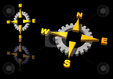Gear compass logo stock photo, Gear compass logo on black background - 3d illustration by J?