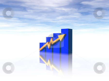 Business chart stock photo, Business graph on cloudy background - 3d illustration by J?