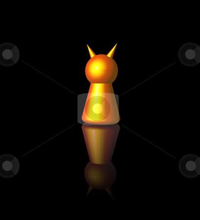 Evil stock photo, Golden devil play figure on black background - 3d illustration by J?