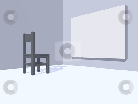 Watch stock photo, Grey chair and blank painting - 3d illustration by J?