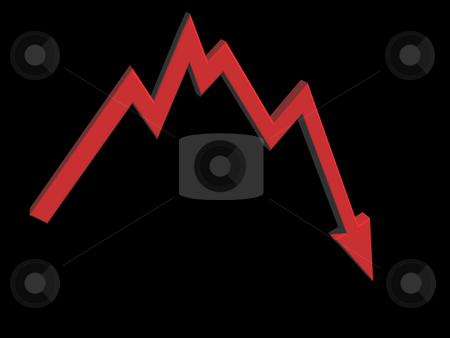 Crisis stock photo, Business graph shows bad news - 3d illustration by J?
