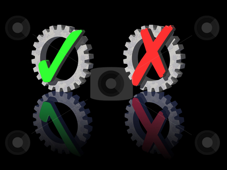 Ok and cancel symbols stock photo, Ancel and ok symbol with gear on black background - 3d illustration by J?