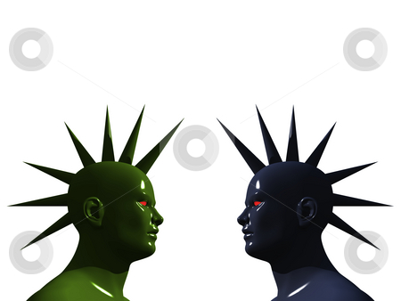 Spike heads stock photo, Strange heads in mohawk style - 3d illustration by J?