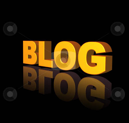 Blog stock photo, Golden Blog text on black background - 3d illustration by J?
