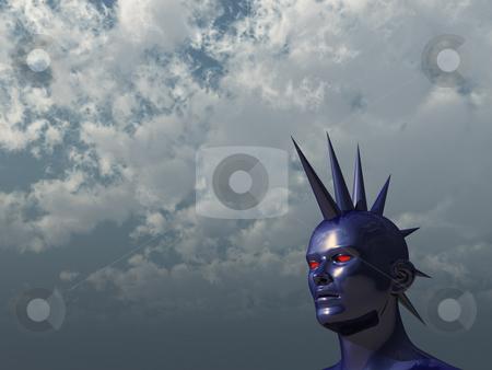 Demon stock photo, Blue strange head in mohawk style - 3d illustration by J?