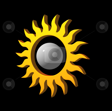 Sun stock photo, Simple sun logo on black background - 3d illustration by J?