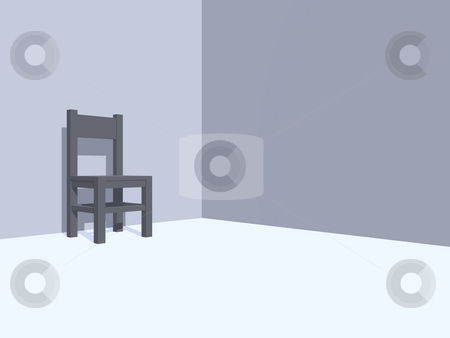 Wait stock photo, Grey chair in a monochrome room - 3d illustration by J?