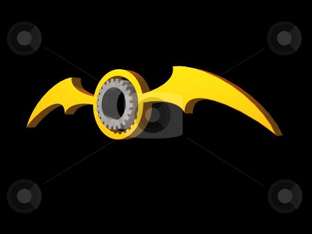 Batwings gear logo stock photo, Batwings gear logo on black background - 3d illustration by J?