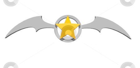 Star bat stock photo, Batwings and golden star symbol - 3d illustration by J?