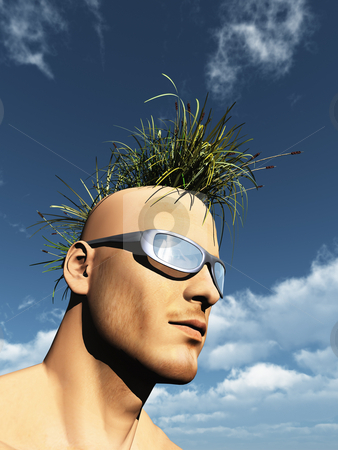Grass mohawk stock photo, Human head with grass mohawk hair - 3d illustration by J?