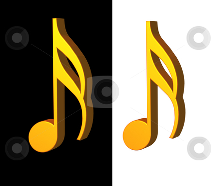 Music stock photo, Golden note on black and white background - 3d illustration by J?