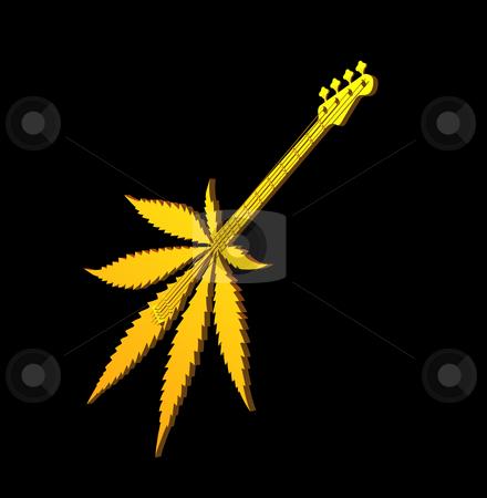 Stoner rock stock photo, Golden hemp guitar on black background - 3d illustration by J?