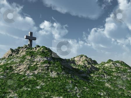 Cross stock photo, Christian cross monument - 3d illustration by J?