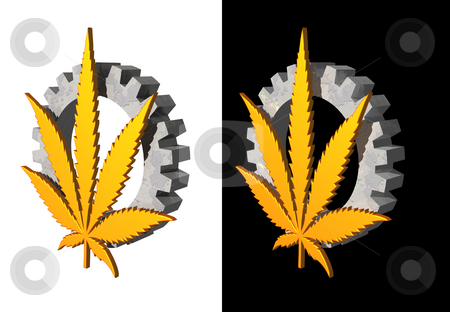 Hemp industry stock photo, Golden hemp symbol and gearwheel on white and black background by J?