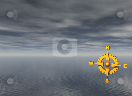 Navigate stock photo, Golden compass and water landscape in background - 3d illustration by J?