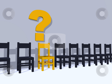 Who stock photo, Row of chairs, one in yellow and question mark - 3d illustration by J?