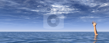 Sos stock photo, Arm on water landscape and blue cloudy sky - 3d illustration by J?