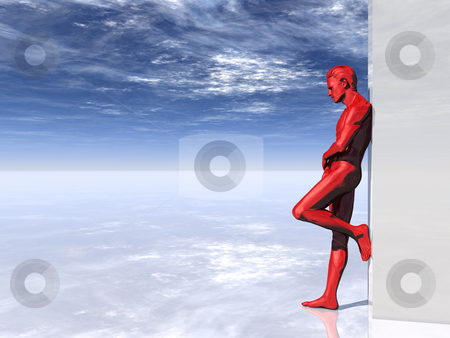 Red man stock photo, Red human man figure on big blank box - 3d illustration by J?
