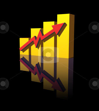 Chart stock photo, Business graph  on black  background - 3d illustration by J?