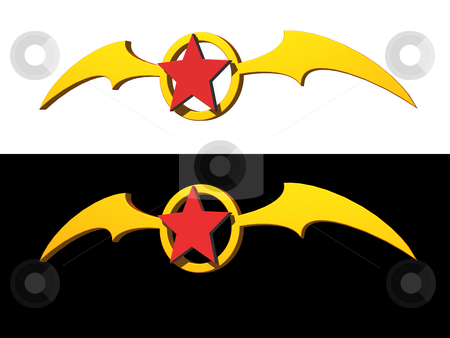Red star stock photo, Red star and bat wings logo on black and white background - 3d illustration by J?