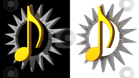 Strange music stock photo, Golden note and thorns circle on black and white background - 3d illustration by J?