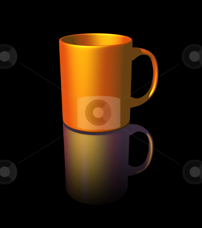 Coffee mug stock photo, Coffee mug on black background - 3d illustration by J?
