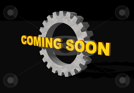 Coming soon stock photo, Coming soon text and gearwheel on black background - 3d illustration by J?