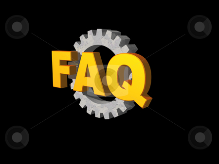 Faq stock photo, Golden faq text and gearwheel on black background - 3d illustration by J?