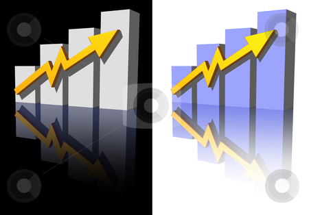 Business graph stock photo, Business graph on black and white background - 3d illustration by J?