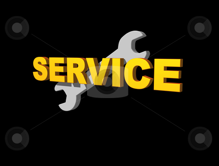 Service stock photo, Service text and wrench on black background - 3d illustration by J?
