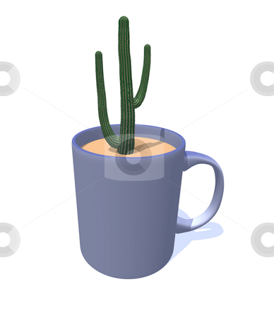 Cactus stock photo, Cactus in a mug - 3d illustration by J?