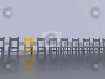 Chairs stock photo, Row of chairs, one in yellow - 3d illustration by J?