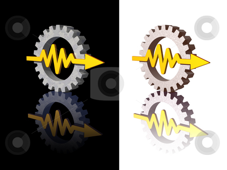 Curve stock photo, Gear-graph logos on black and white background - 3d illustration by J?