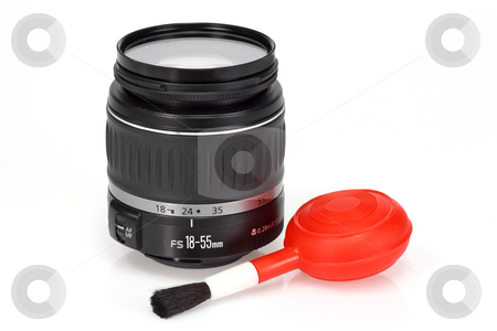 Camera equipment stock photo, Camera lens and a blow brush on bright background by Birgit Reitz-Hofmann