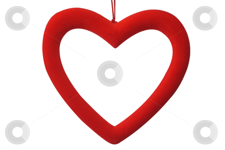 Red heart stock photo, Decorative red heart with clipping path on white background by Birgit Reitz-Hofmann