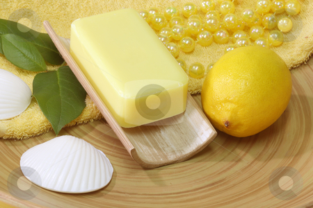 Lemon soap stock photo, Lemon Soap and yellow accessories - body care by Birgit Reitz-Hofmann